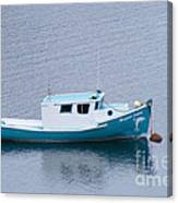 Blue Moored Boat Canvas Print