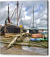 Boats On The Hard At Pin Mill Canvas Print