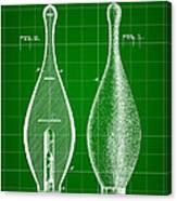 Bowling Pin Patent 1895 - Green Canvas Print