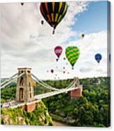Bristol Balloon Fiesta Display Over Clifton Suspension Bridge Canvas Print