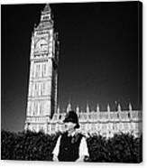 british metropolitan police office guarding the houses of parliament London England UK Canvas Print