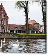 Brugge Canal Scene Canvas Print