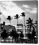 Buildings Lit Up At Dusk, Ocean Drive Canvas Print