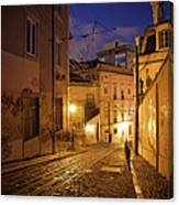 Calcada Da Gloria Street At Night In Lisbon Canvas Print