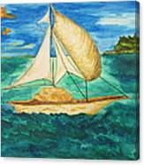 Camouflage Sailboat Canvas Print