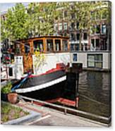 Canal In The City Of Amsterdam Canvas Print