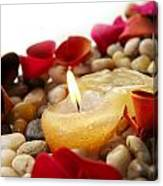 Candle And Petals Canvas Print
