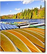 Canoes On Autumn Lake Canvas Print