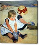 Cassatt's Children Playing On The Beach Canvas Print