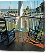 2 Chairs On The Fairhope Yacht Club Porch Canvas Print