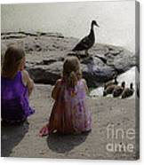 Children At The Pond 3 Canvas Print
