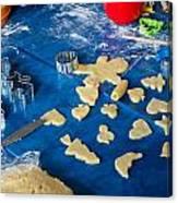 Children Baking Christmas Cookies Canvas Print