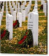 Christmas Wreaths Laid At The Arlington Cemetery Canvas Print