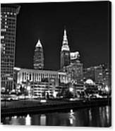 Cleveland In Black And White Canvas Print