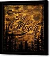 Coca Cola Wooden Sign Canvas Print