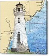 Cockspur Island Lighthouse Ga Nautical Chart Map Art Cathy Peek Canvas Print