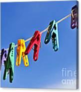 Colorful Clothes Pins Canvas Print