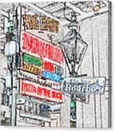Colorful Neon Sign On Bourbon Street Corner French Quarter New Orleans Colored Pencil Digital Art Canvas Print