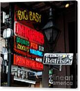 Colorful Neon Sign On Bourbon Street Corner French Quarter New Orleans Watercolor Digital Art Canvas Print