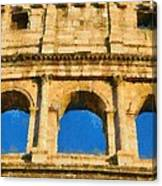 Colosseum In Rome Under Late Afternoon Light Canvas Print