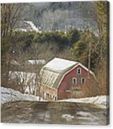 Country Road And Barn In Winter Maine Canvas Print