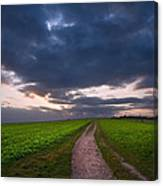Countryside Landscape Path Leading Through Fields Towards Dramat Canvas Print