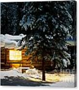 Cozy Log Cabin At Moon-lit Winter Night Canvas Print