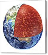 Cross Section Of Planet Earth Showing Canvas Print