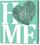 Dallas Street Map Home Heart - Dallas Texas Road Map In A Heart Canvas Print