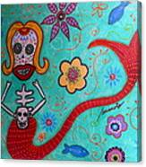 Day Of The Dead Mermaid Canvas Print