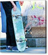 Detail Of Skateboard And Legs Canvas Print