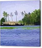 Digital Oil Painting - A Houseboat On Its Quiet Sojourn Through The Backwaters Canvas Print
