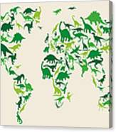 Dinosaur Map Of The World Map Canvas Print