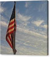 Draped American Flag Pole Dusk Casa Grande Arizona 2004 Canvas Print