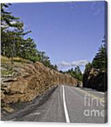Driving Through A Rock Cut Canvas Print