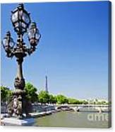 Eiffel Tower And Bridge On Seine River In Paris Canvas Print