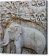Elephant Sculpture At Mamallapuram  Canvas Print