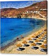 Elia Beach In Mykonos Island Canvas Print