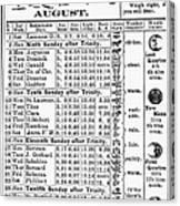 Family Almanac, 1874 Canvas Print