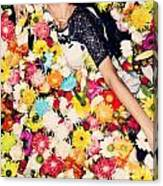Fashion Model Posing With Flowers Canvas Print