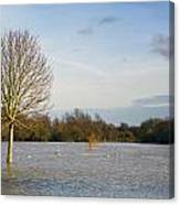 Flooded Field In Rural Essex Canvas Print