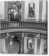 2 Floors Black And White Michigan State Capitol  Canvas Print