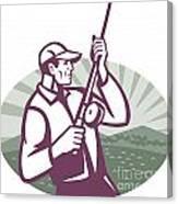 Fly Fisherman Fishing Retro Woodcut Canvas Print