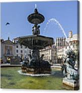 Fountain In The Pedro Iv Square Also Best Known As Rossio Square Canvas Print