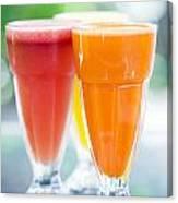 Fresh Orange Carrot And Watermelon Fruit Juice Canvas Print