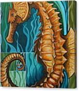 Golden Seahorse Canvas Print