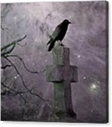 Surreal Crow In Gothic Purple Sky Canvas Print