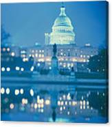 Government Building Lit Up At Night Canvas Print