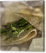 Green Asparagus On Burlab Canvas Print