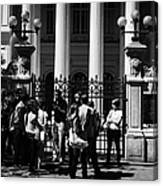 guided tour group outside the former national congress building Santiago Chile Canvas Print
